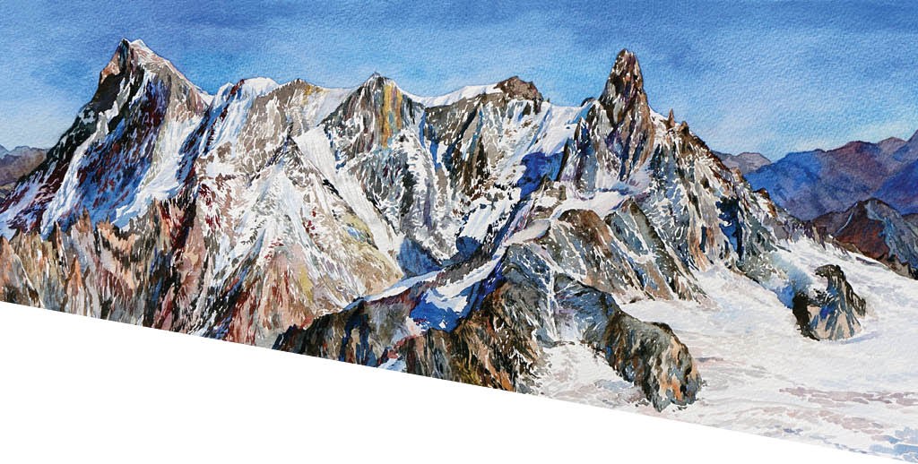Watercolour mountain range